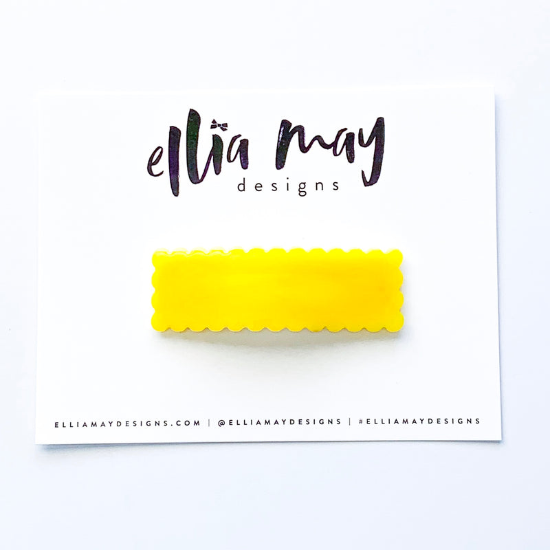 Snap Clip - Scalloped Yellow Bar