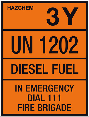 Hazchem Diesel UN1202 Small Sign - Markit Graphics