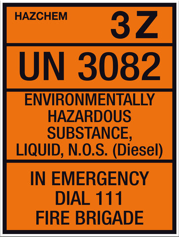 Hazchem Diesel UN3082 Small Sign - Markit Graphics