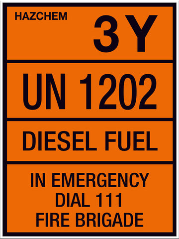 Hazchem Diesel UN1202 Large Sign - Markit Graphics