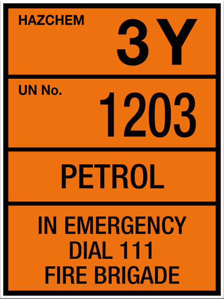 Hazchem Petrol UN1203 Large Sign - Markit Graphics