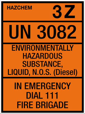 Hazchem Diesel UN3082 Large Sign - Markit Graphics