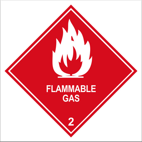 Flammable Gas Class 2 Labels - 10 Pack