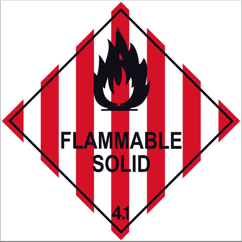 Flammable Solid 4.1 Labels - 10 Pack