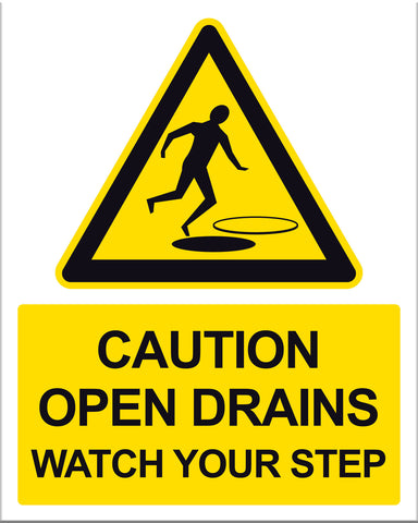 Caution Open Drain Sign - Markit Graphics