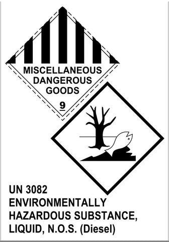 Safety Tags for Diesel Fuel Containers