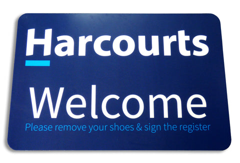 Harcourts Welcome Floor Mat , 400mm x 600mm, Blue Background - Markit Graphics