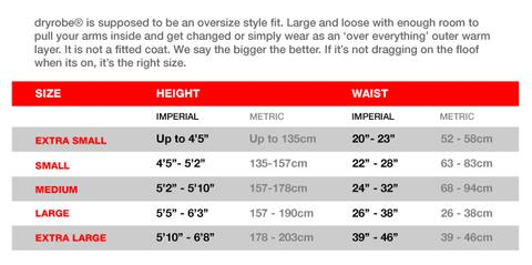 DryRobe Size Chart2 @ SCDiving