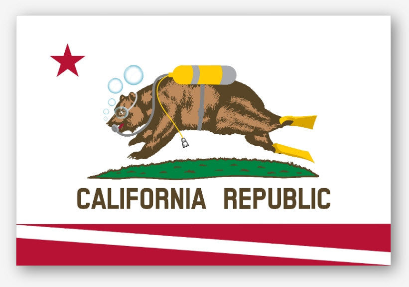 California Scuba Diving Flag Sticker