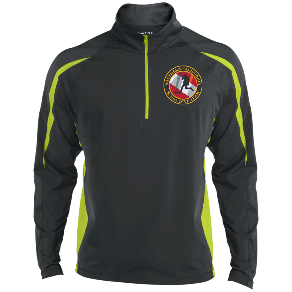 Mens Sport Wicking Colorblock Half-Zip