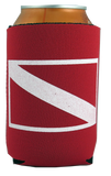 Trident Red Neoprene Can Cooler with Dive Flag