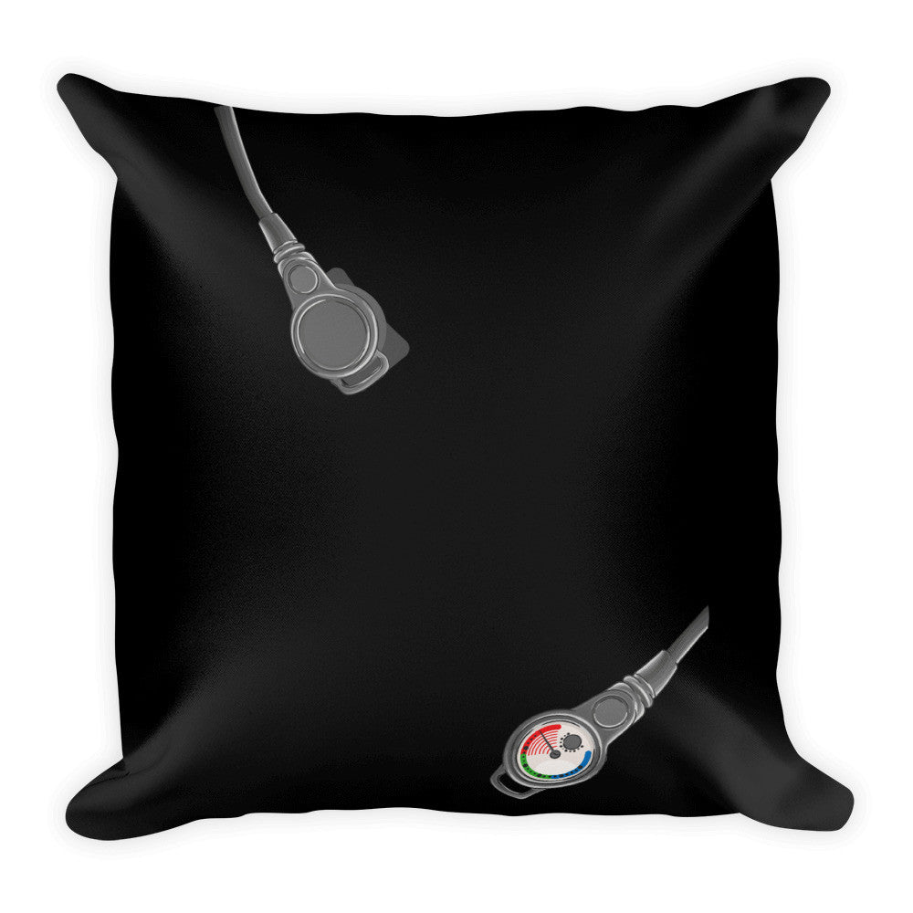 Square Pillow - Scuba Gear - Black Background