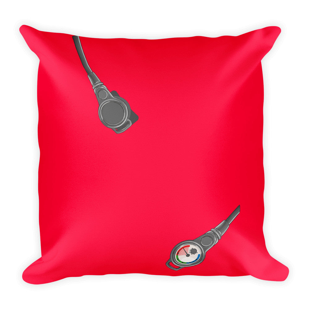 Square Pillow - Scuba Gear - Red Background