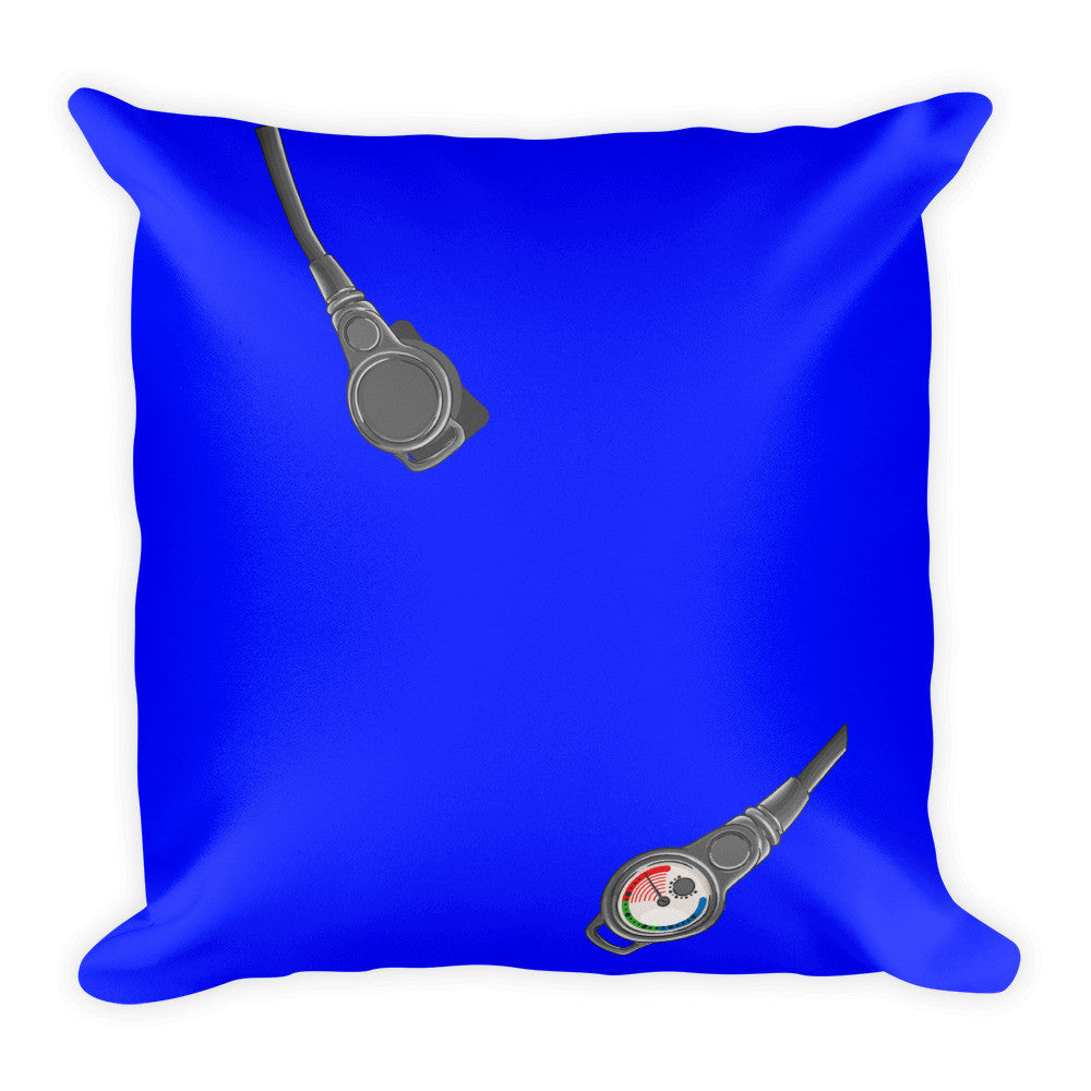 Square Pillow - Scuba Gear - Blue Background