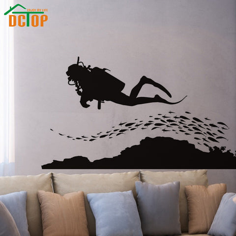 Group Of Fish And Scuba Diver Wall Sticker