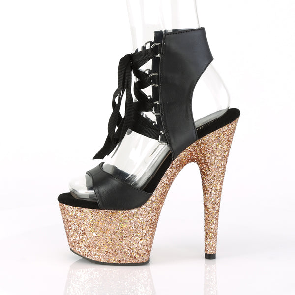 Pleaser - ADORE-700-14LG - Black Faux Leather/Rose Gold Multi Glitter - Platforms (Exotic Dancing)