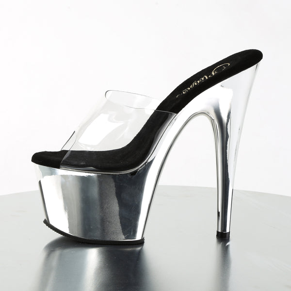 Pleaser - ADORE-701 - Clear/Silver Chrome