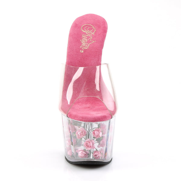 Pleaser - ADORE-701FL - Clear/Hot Pink Flowers
