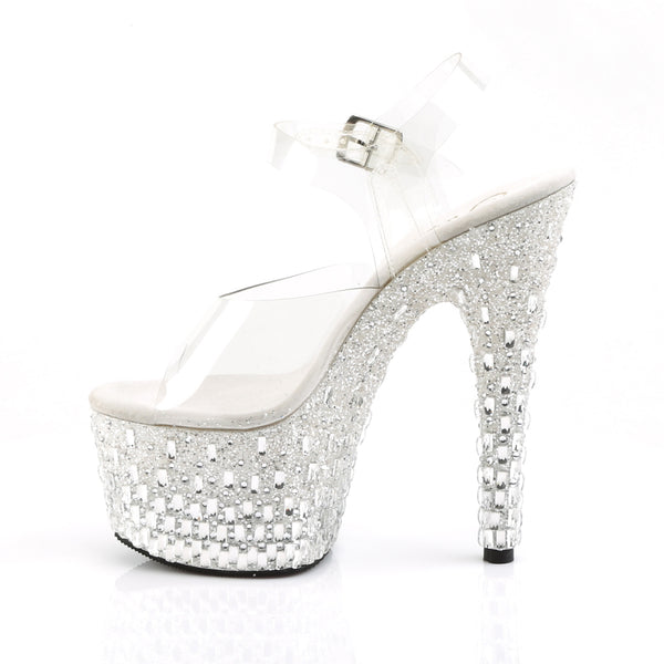 Pleaser - ADORE-708MR-5 - Clear/White-Silver - Platforms (Exotic Dancing)
