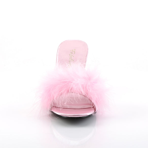 Fabulicious - AMOUR-03 - Black  Pink Satin-Fur - Shoes