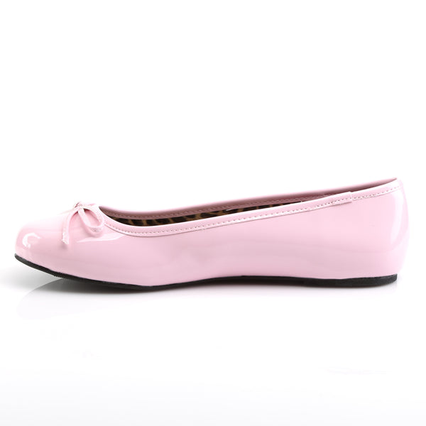 Pleaser Pink Label - ANNA-01 - Black  Pink Patent - Single Soles