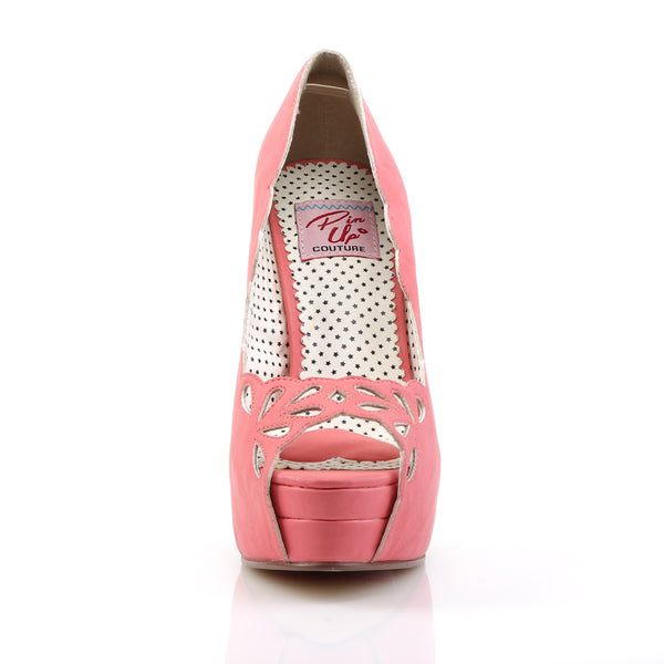 Pin Up Couture - BELLA-30 - Coral Faux Leather - Platforms