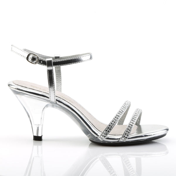 Fabulicious - BELLE-316 - Silver Metallic Pu/Clear