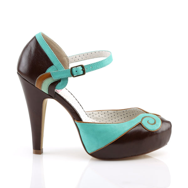 Pin Up Couture - BETTIE-17 - Teal-Brown Faux Leather - Platforms