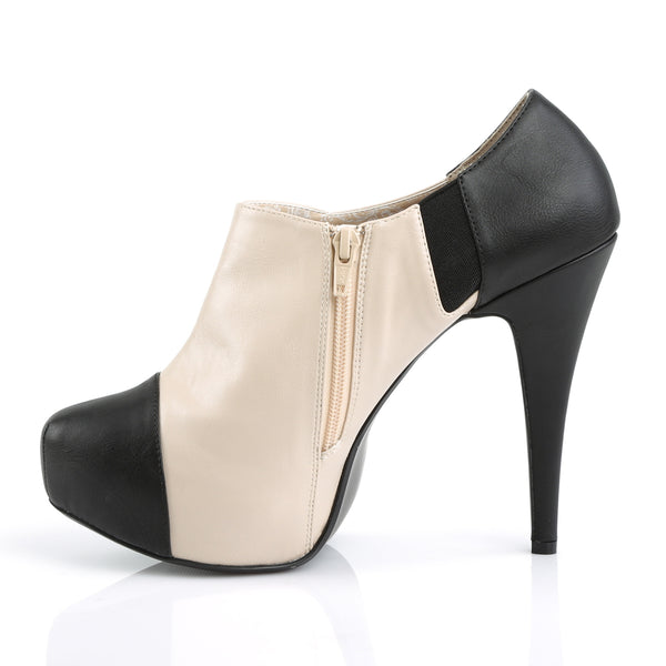 Pleaser Pink Label - CHLOE-11 - Black-Cream Faux Leather