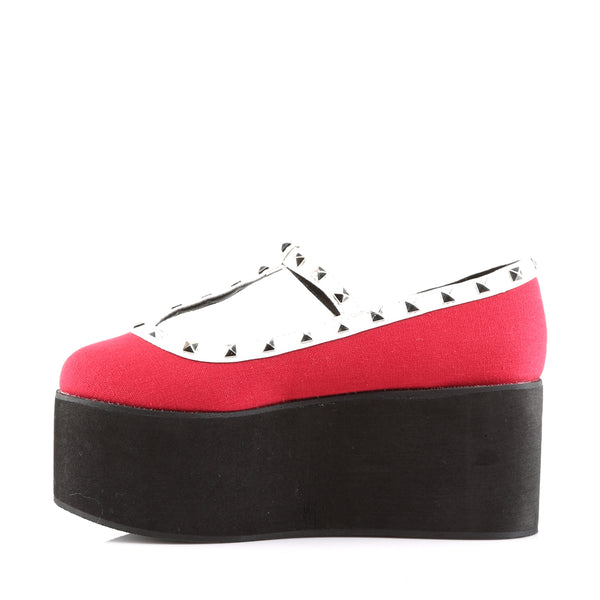 Demonia - CLICK-07 - Red Canvas-Black-White Vegan Leather