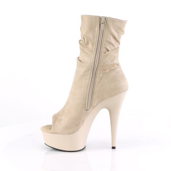 Pleaser - DELIGHT-1031 - Beige Faux Suede/Beige Matte - Platforms (Exotic Dancing)