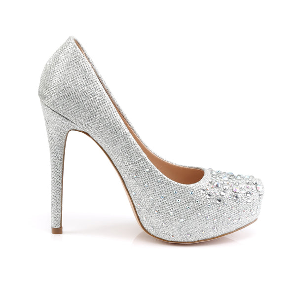 Fabulicious - DESTINY-06R - Silver Glitter Mesh Fabric - Shoes
