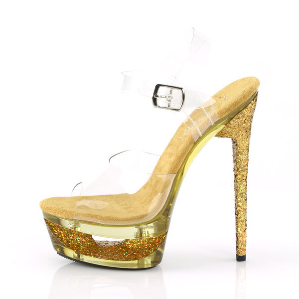 Pleaser - ECLIPSE-608GT - Clear/Gold Multi Glitter-Tinted