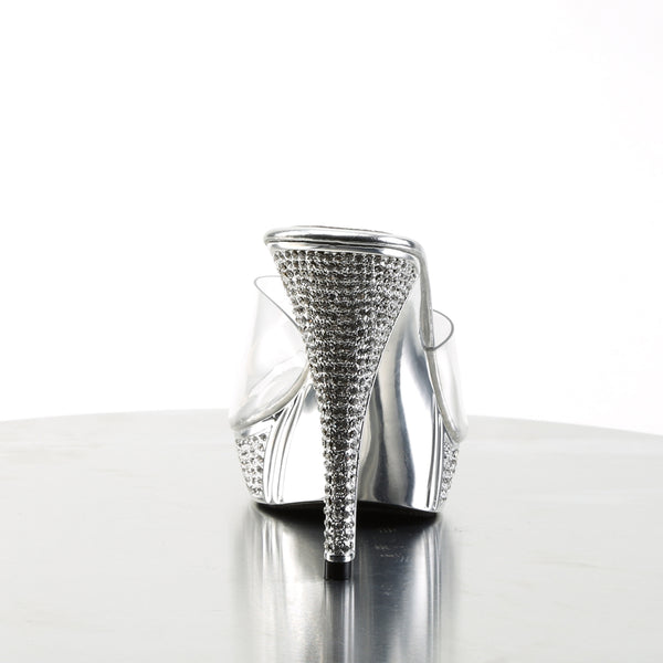 Fabulicious - ELEGANT-401 - Clear/Silver Chrome - Shoes