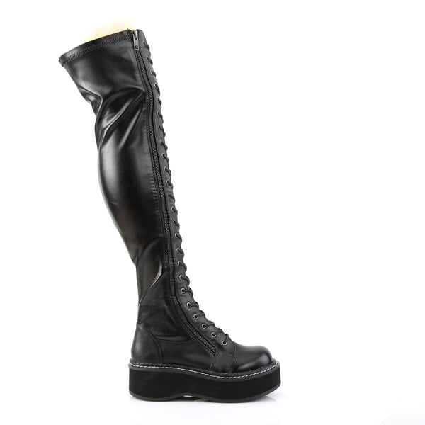Demonia - EMILY-375 - Black Str Vegan Leather - Women's Over-the-Knee Boots