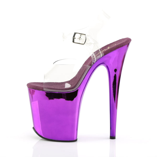 Pleaser - FLAMINGO-808 - Clear/Purple Chrome