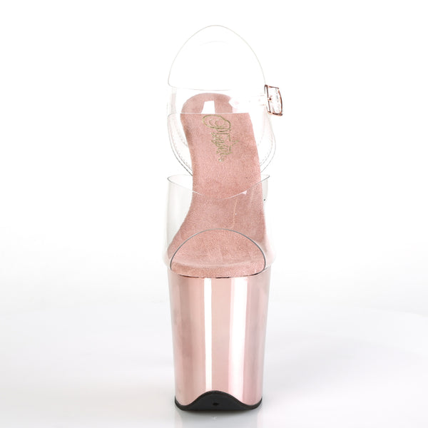 Pleaser - FLAMINGO-808 - Clear/Rose Gold Chrome