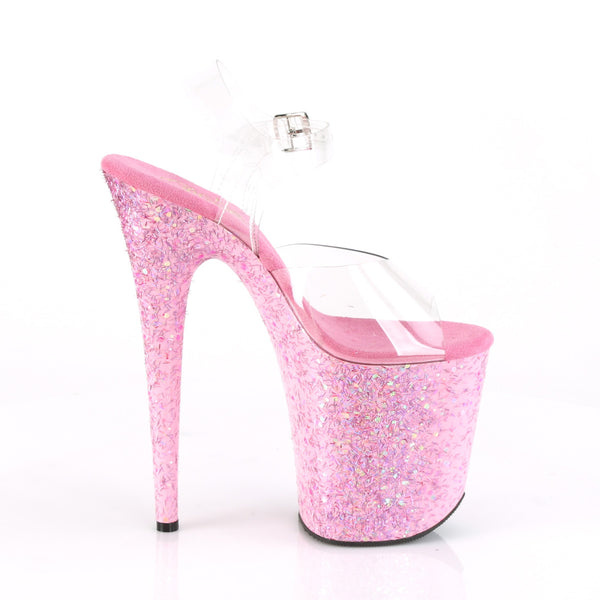 Pleaser - FLAMINGO-808CF - Clear/Pink Confetti - Platforms (Exotic Dancing)