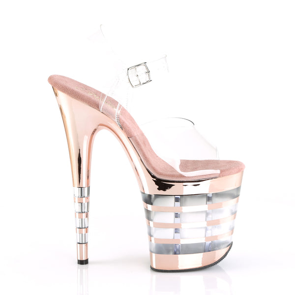 Pleaser - FLAMINGO-808CHLN - Clear/Rose Gold Chrome