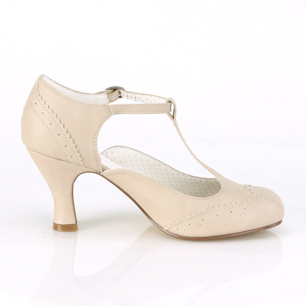 Pin Up Couture - FLAPPER-26 - Cream Pu - Single Soles
