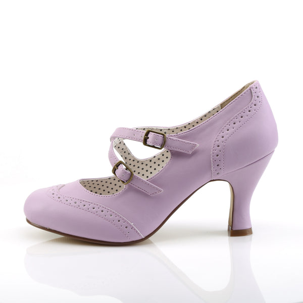 Pin Up Couture - FLAPPER-35 - Lavender Faux Leather - Single Soles