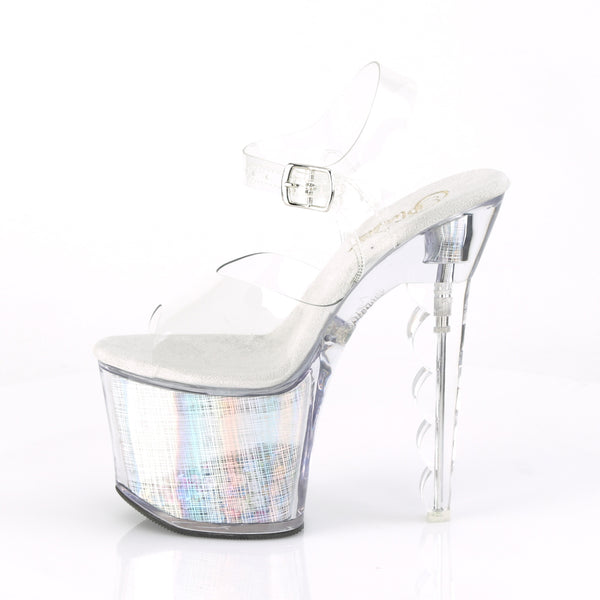 Pleaser - FLASHDANCE-708SCHSQ - Clear/Silver Hologram-Sequins Inserted