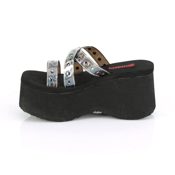 Demonia - FUNN-19 - Black Oil Flick Hologram - Women's Sandals