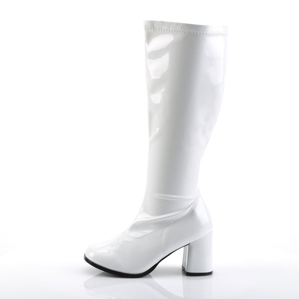 Funtasma - GOGO-300X - White Str Patent - Plus Sizes & Wide Width/Shaft