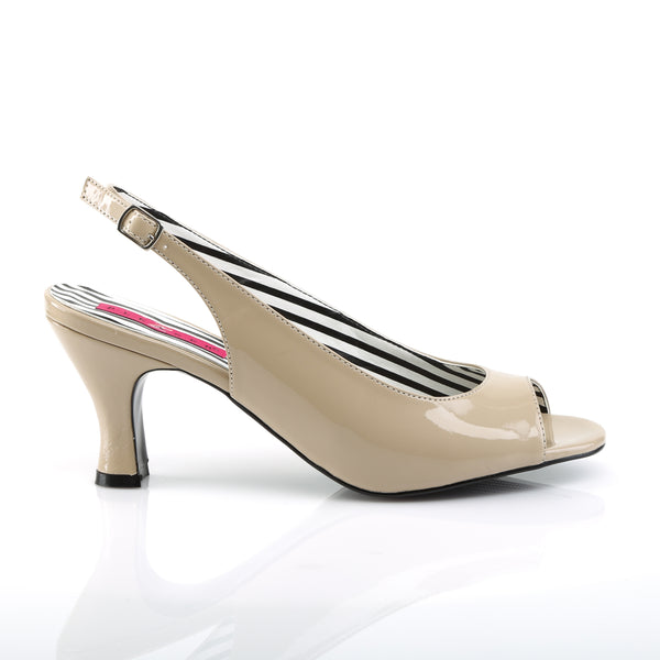 Pleaser Pink Label - JENNA-02 - Cream Patent - Single Soles