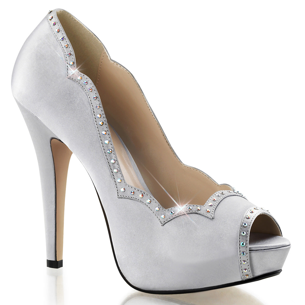 Fabulicious - LOLITA-05 - Silver Satin - Shoes