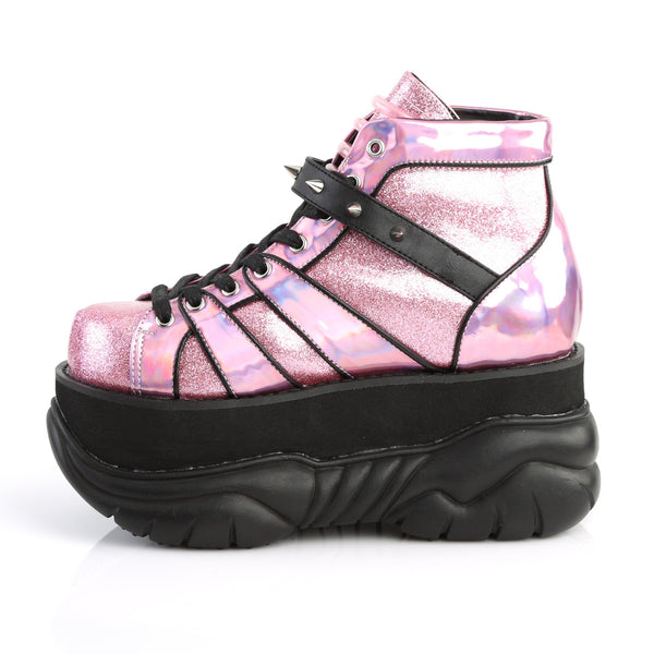 Demonia - NEPTUNE-100 - Pink Glitter-Silver/Vegan Leather - Unisex Platform Shoes & Boots