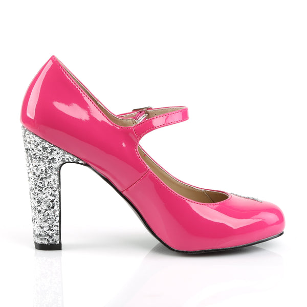 Pleaser Pink Label - QUEEN-02 - Hot Pink Patent-Silver Glitter