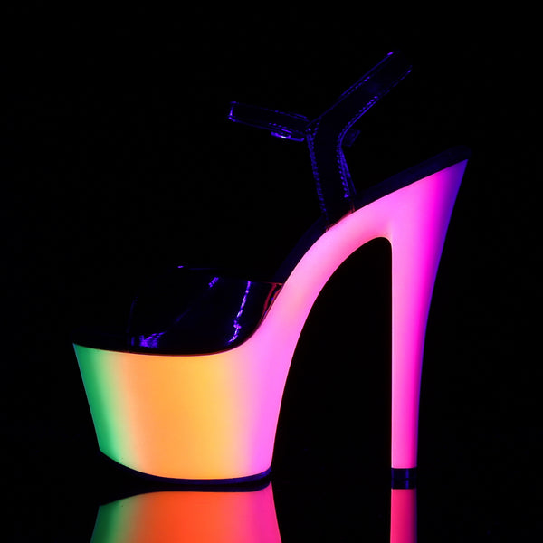 Pleaser - RAINBOW-309UV - Black Patent/Neon Multi