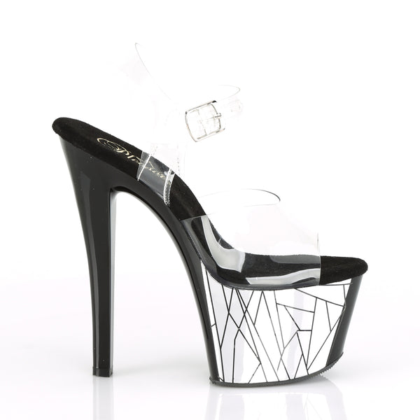 Pleaser - SKY-308CP-3 - Clear/Black-Silver Chrome - Platforms (Exotic Dancing)